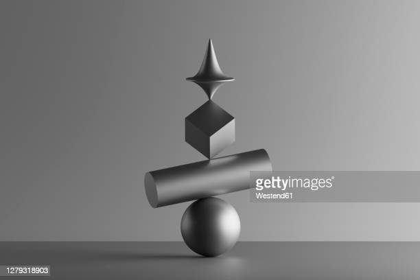 three dimensional render of metallic top spinning on top of geometric cube, cylinder and sphere - four objects stock illustrations