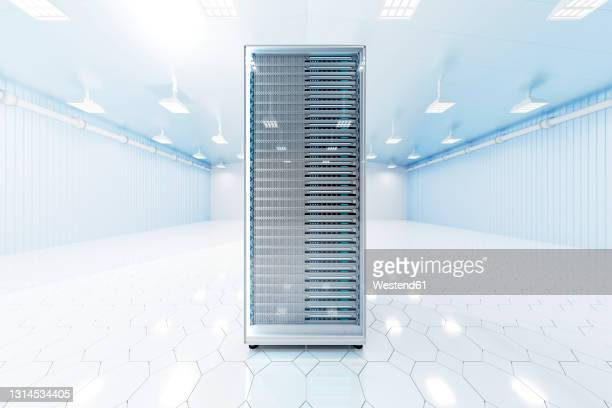 three dimensional render of network server tower standing inside brightly lit server room - complexity stock illustrations