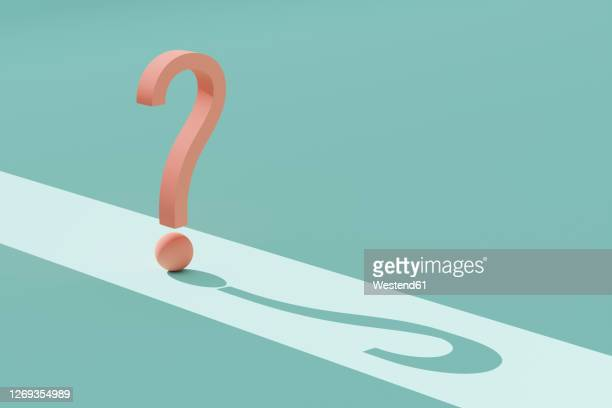 three dimensional render of orange question mark against green background - question mark stock illustrations