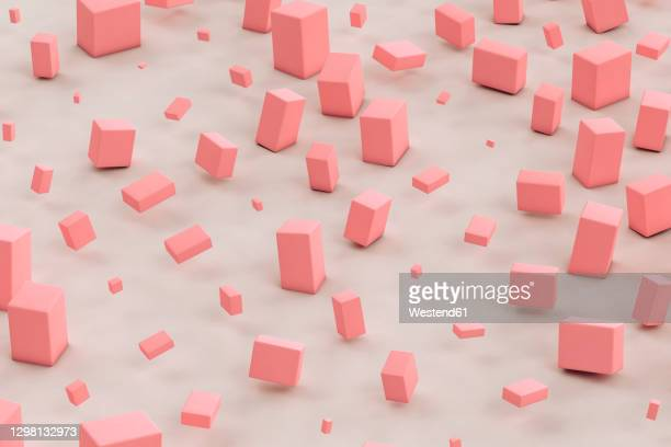 three dimensional render of pink cuboids floating against gray background - geometric stock illustrations