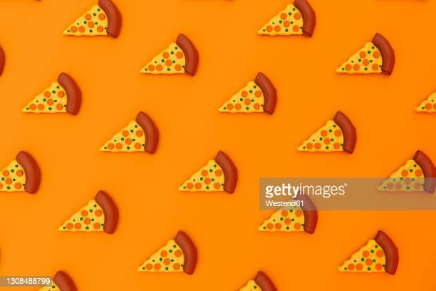 three dimensional render of pizza slices on orange background - large group of objects stock illustrations
