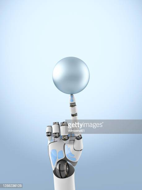 three dimensional render of robotic arm balancing sphere on top of finger - automated stock illustrations