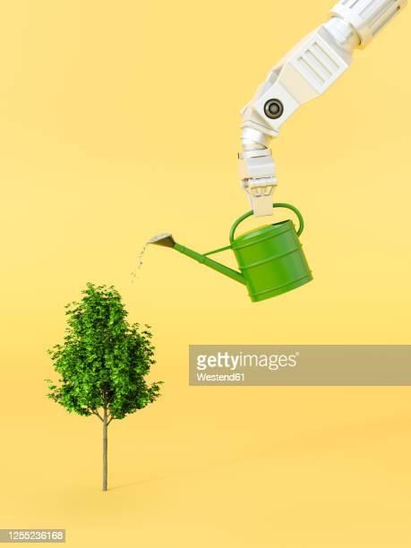 three dimensional render of robotic arm watering tree - automated stock illustrations