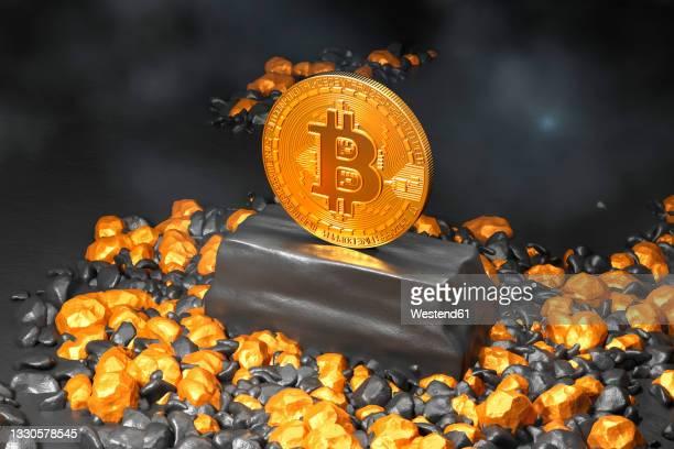 illustrazioni stock, clip art, cartoni animati e icone di tendenza di three dimensional render of single bitcoin standing inside gold mine - bitcoin