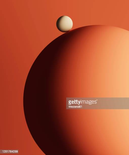 three dimensional render of small sphere on top of large one - scale stock illustrations