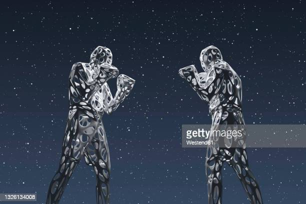 three dimensional render of two wireframe men preparing to fight against starry sky at night - boxing stock illustrations