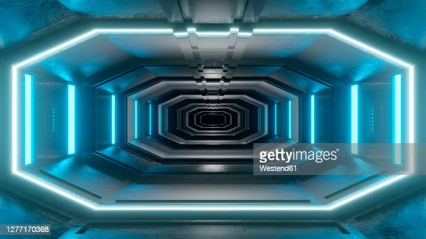 three dimensional render offuturistic corridor inside spaceship or space station - {{asset.href}} stock illustrations