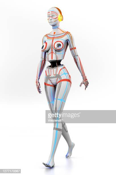 three dimensional render ofgynoid - robot stock illustrations