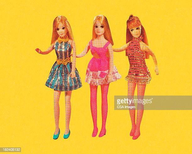 Three Dolls Wearing Minidresses
