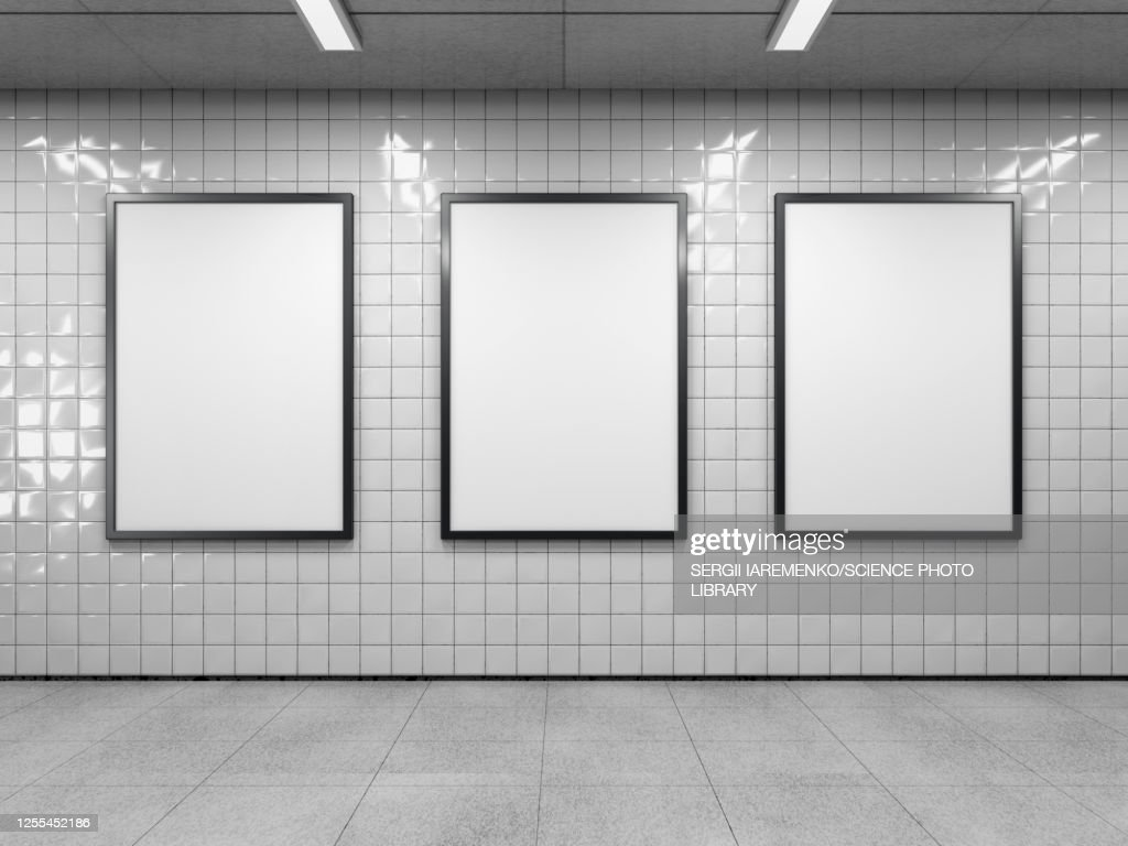 Three empty billboards, illustration : Illustrazione stock