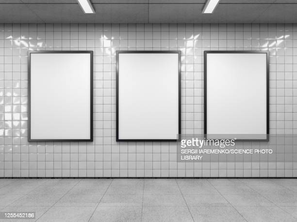 three empty billboards, illustration - digitally generated image stock illustrations