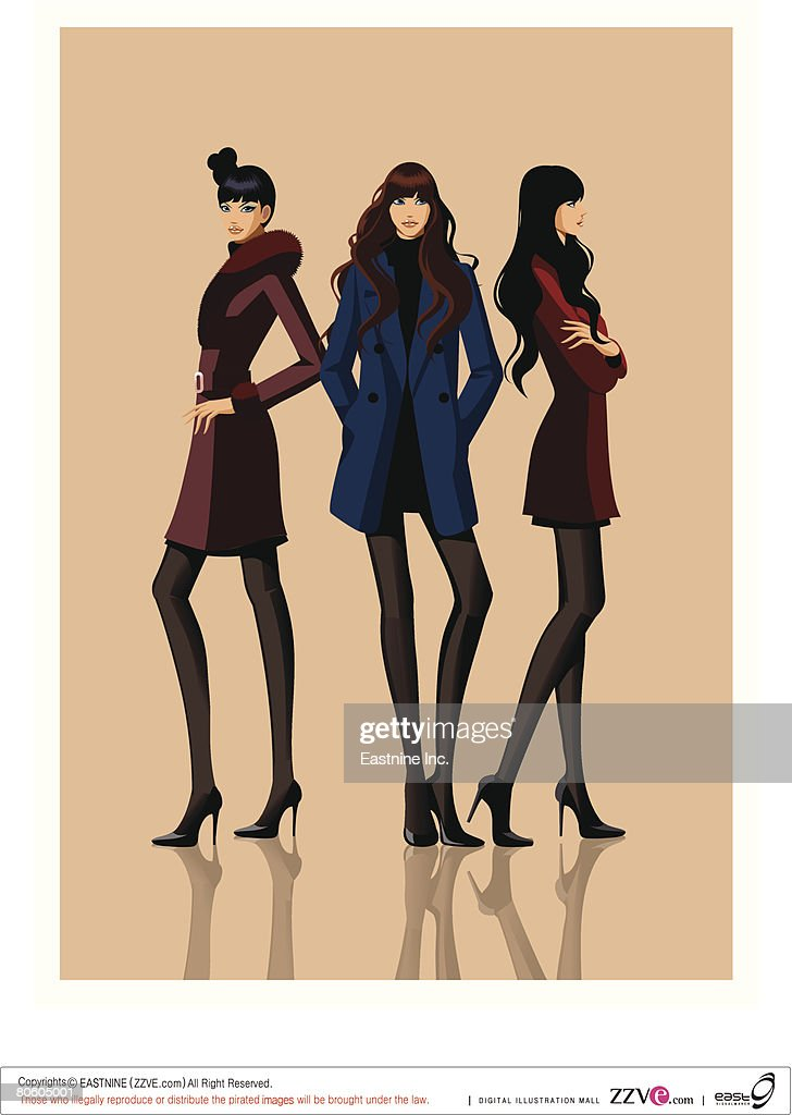 Three fashion models posing : stock illustration