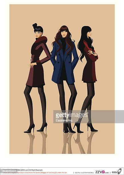 Three fashion models posing