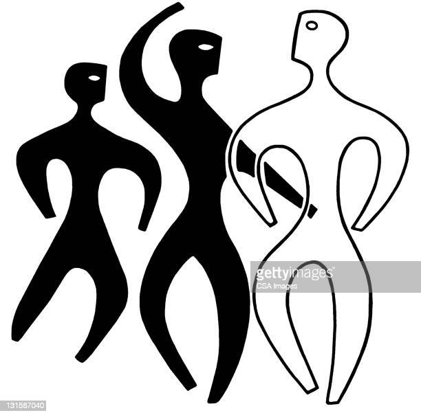three figures - three people stock illustrations