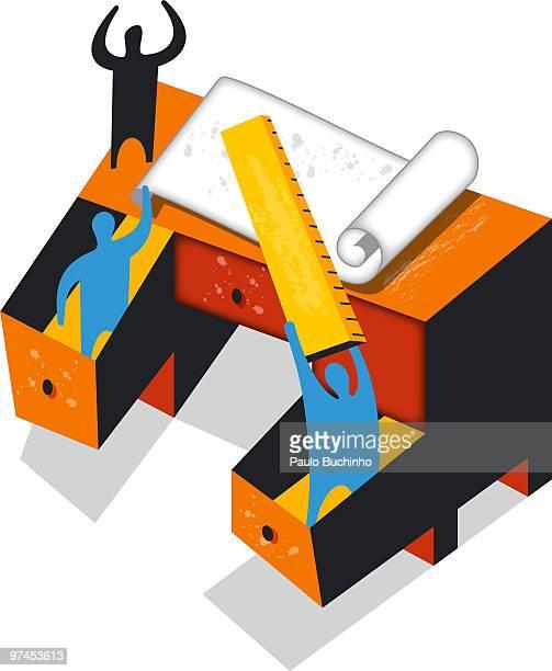 ilustrações de stock, clip art, desenhos animados e ícones de three figures on a writing desk with a ruler and pad of paper - buchinho