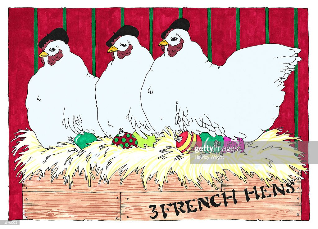 Three French Hens : Stock Illustration