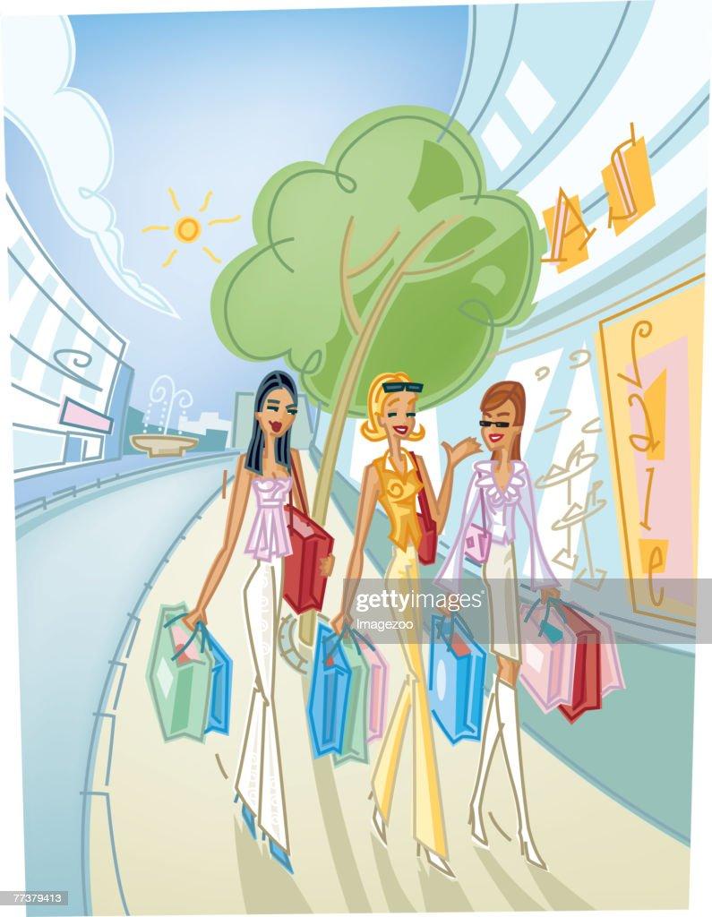 three friends shopping : Illustration