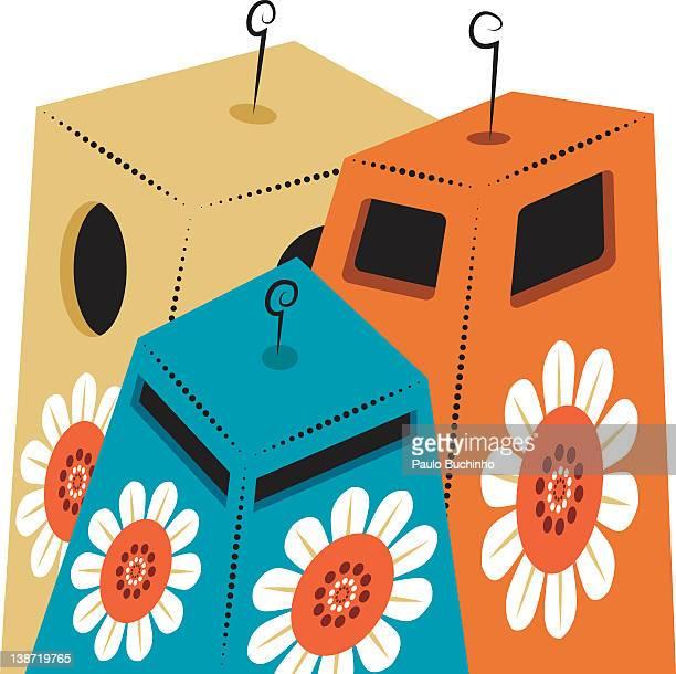 ilustrações de stock, clip art, desenhos animados e ícones de three garbage cans with flowers on it - buchinho