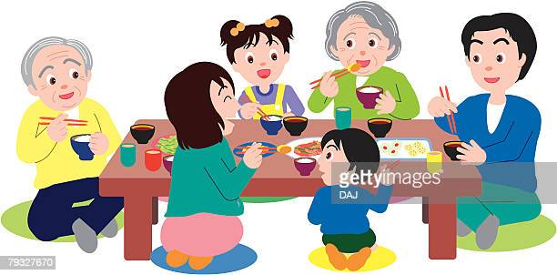 three generation family eating and sitting at table - japanese mom stock illustrations, clip art, cartoons, & icons