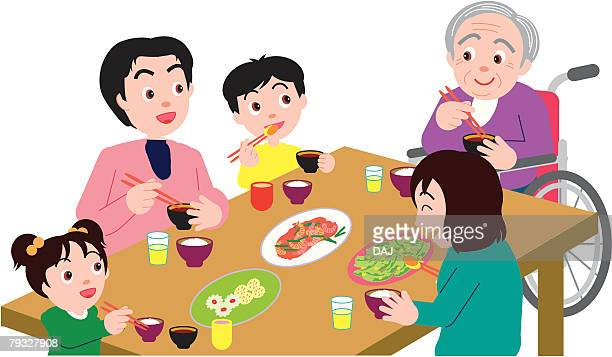 three generation family having meal and sitting at table, high angle view - japanese mom stock illustrations, clip art, cartoons, & icons