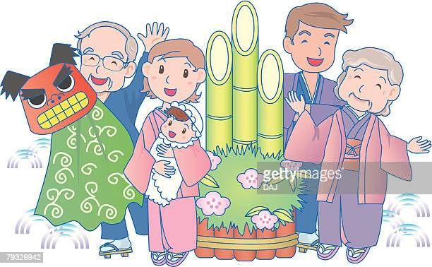 three generational family, smiling, new years day - japanese mom stock illustrations, clip art, cartoons, & icons