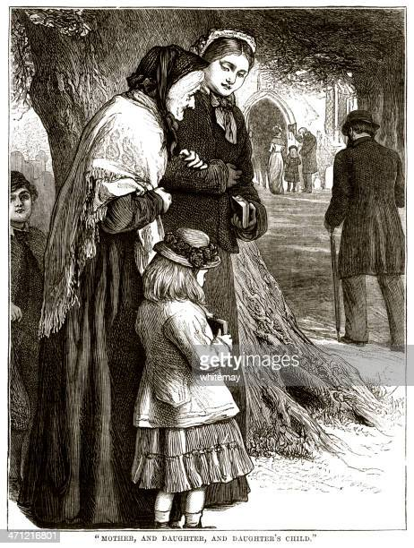 three generations at church - victorian sepia illustration - sunday best stock illustrations, clip art, cartoons, & icons