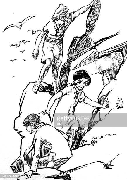 three girls climbing rocks by the sea - steep stock illustrations, clip art, cartoons, & icons