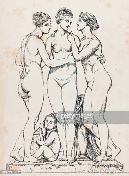 three graces or charites roman mythology - ancient greece stock illustrations