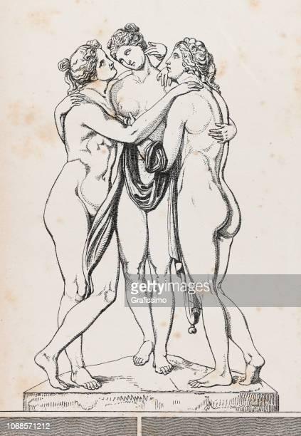 three graces or charites roman mythology - aphrodite stock illustrations, clip art, cartoons, & icons