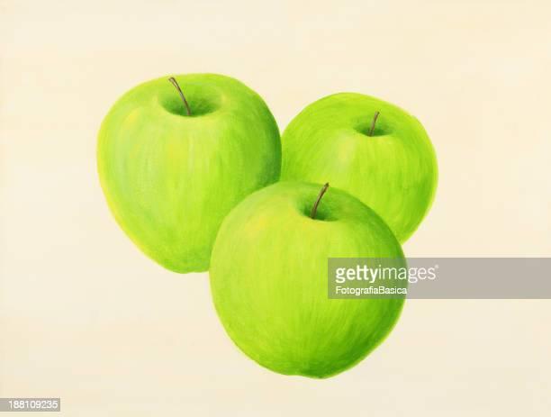 3 つの緑のリンゴ
