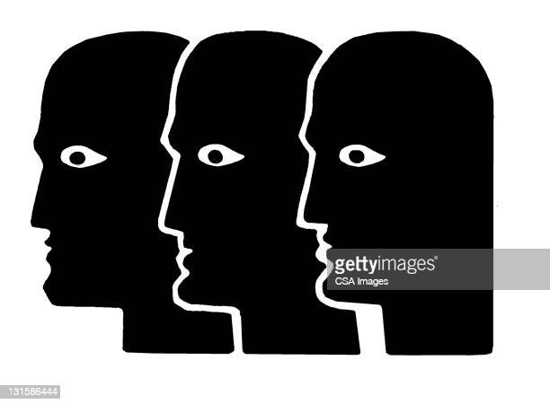 three heads - black and white stock illustrations