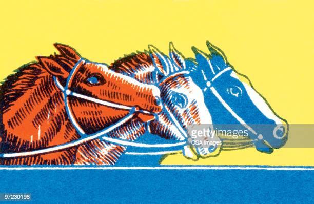 three horses racing - horse racing点のイラスト素材/クリップアート素材/マンガ素材/アイコン素材