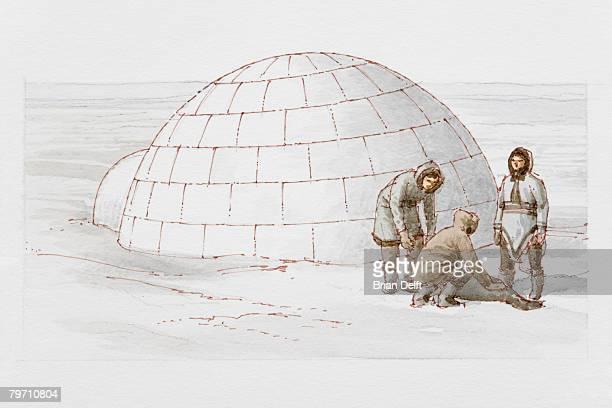 illustrations, cliparts, dessins animés et icônes de three inuit hunters by 6000 bc igloo - igloo