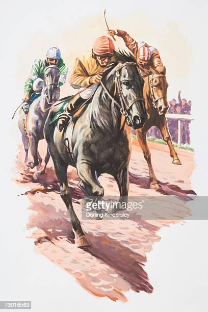 ilustraciones, imágenes clip art, dibujos animados e iconos de stock de tres jockeys luchando para entrar en la primera vista de frente. - grupo de animales