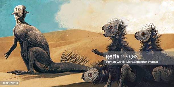 Three juveniles Psittacosaurus sinensis under the supervision of an adult.
