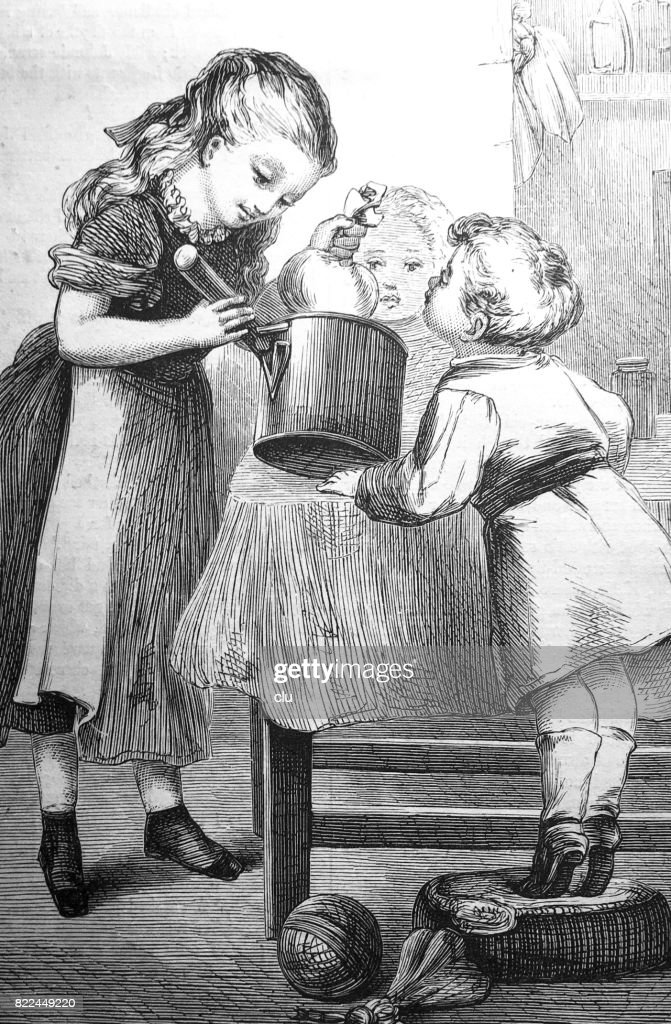Three kids in kitchen cooking pudding : Stock Illustration