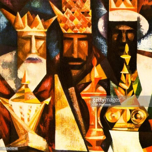 ilustraciones, imágenes clip art, dibujos animados e iconos de stock de tres reyes - los tres reyes magos