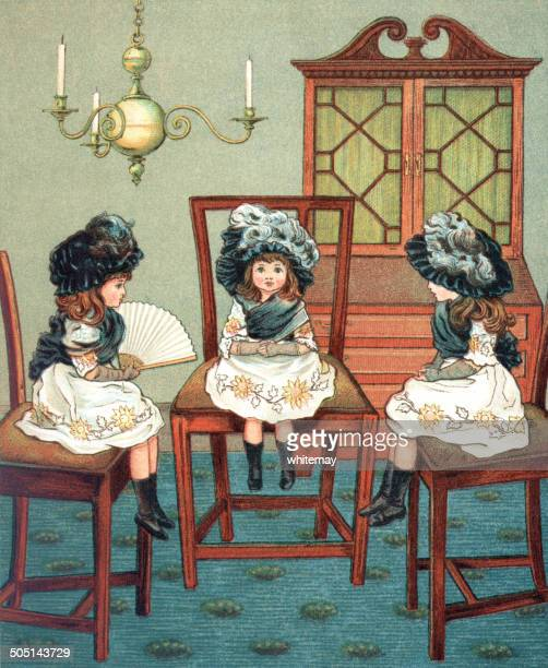 three little victorian girls going visiting - sunday best stock illustrations, clip art, cartoons, & icons