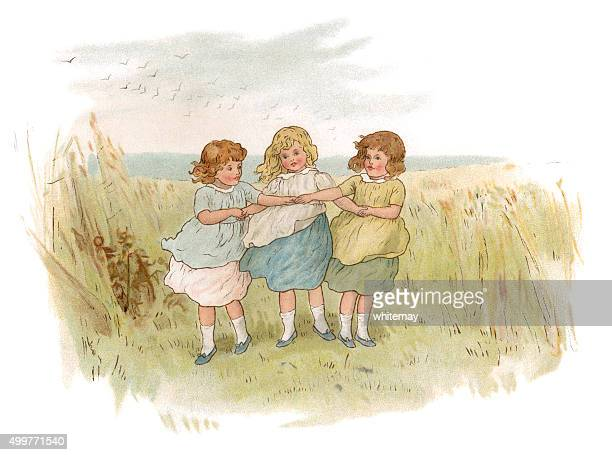 three little victorian girls playing in a field - arm in arm stock illustrations, clip art, cartoons, & icons