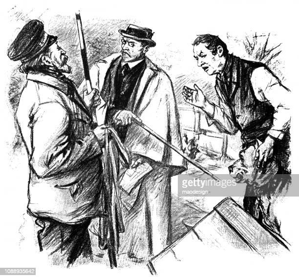 Three men are discussing in the garden - 1896