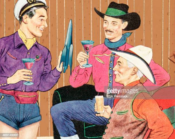 Three Men Drinking Cocktails