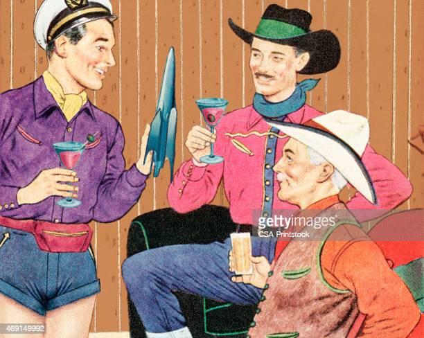 three men drinking cocktails - stag night stock illustrations, clip art, cartoons, & icons