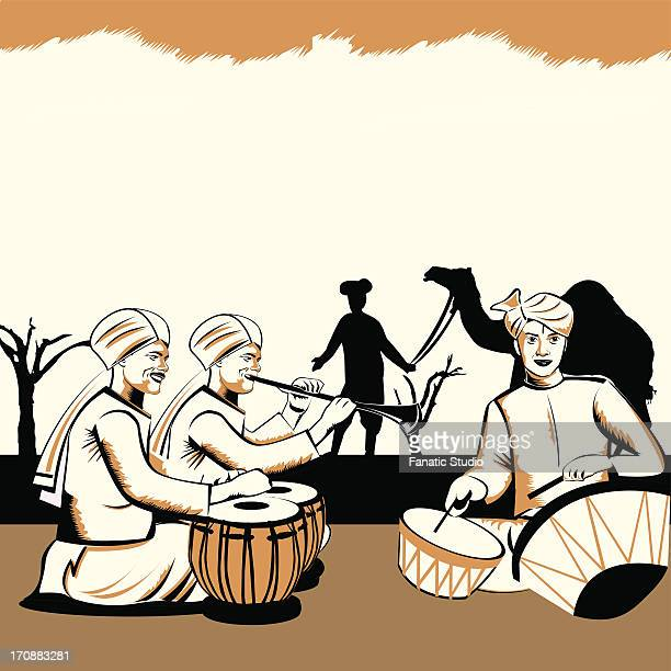 three men playing musical instruments, rajasthan, india - actress stock illustrations