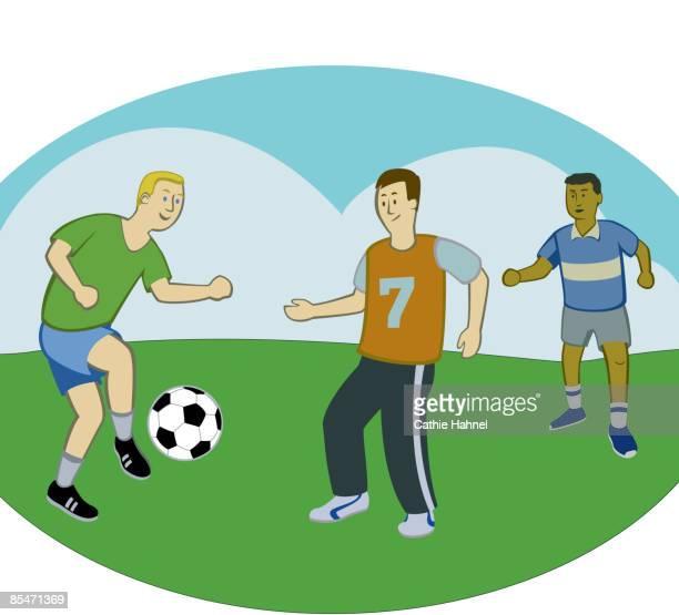 Three men playing soccer