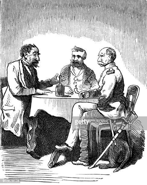Three men sitting at table in restaurant, talking and drinking