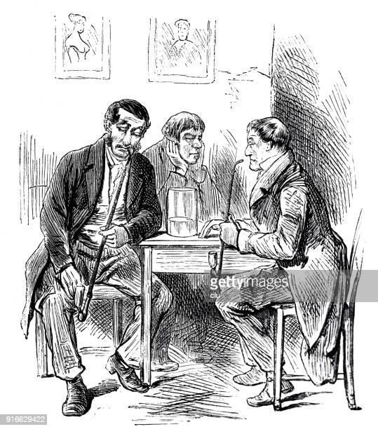 three men sitting at table in restaurant, talking and drinking - 1877 stock illustrations, clip art, cartoons, & icons