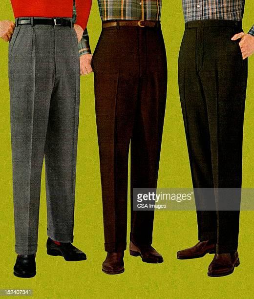 ilustrações, clipart, desenhos animados e ícones de três homens usando calças - perna humana