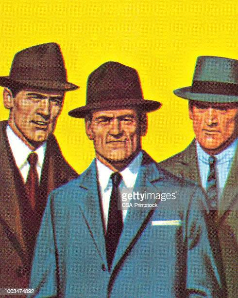 three men wearing suits and hats - detective stock illustrations