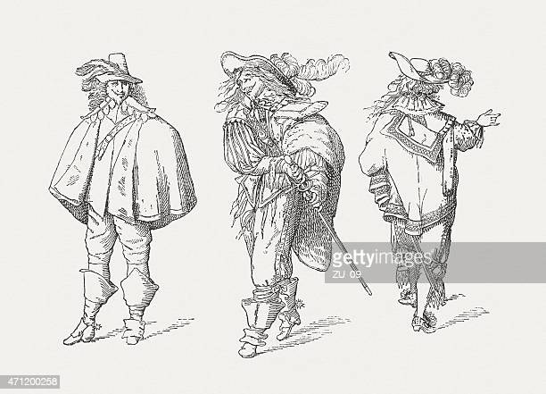 three musketeers (1629) by abraham bosse, wood engraving, published 1881 - musketeer stock illustrations, clip art, cartoons, & icons