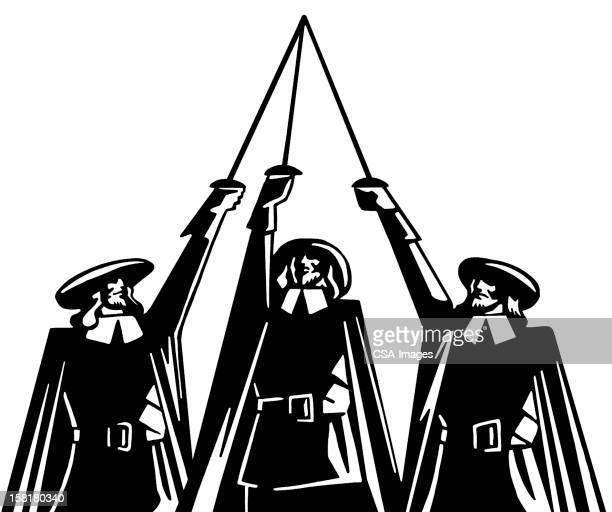three musketeers raising swords - musketeer stock illustrations, clip art, cartoons, & icons